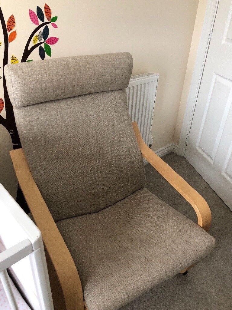 Birch poang armchair veneer hillared beige