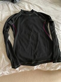 Ladies DHB long sleeve base layer. Size medium charcoal with fuchsia piping.