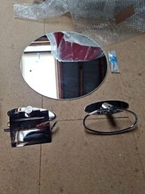 Stainless Steel -Towel & Toilet Roll Holder and Mirror ** Collection Only **