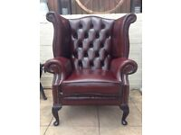Queen Anne Chesterfield Wingback Armchair - Chair in Red Leather ( Oxblood ) L👁👁k