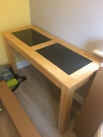 Wood Table with Marble Inserts