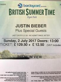 Justin Bieber Premium View London Face Value