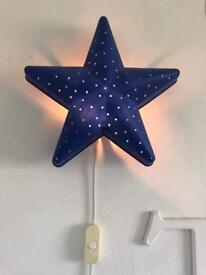 Ikea blue star wall light with switch