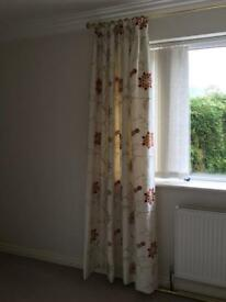Dunelm Mill fully lined pleated curtains and gold pole