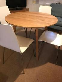 John Lewis Modern Solid Oak Round Dining Table and 4 Chairs