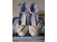Size 5 - Irregular choice, floxy, white wedding heels - Second-hand (worn twice).