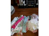 Bundle of baby girls sleepsuits, vests 6/9 months