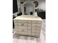 Large French style chest of drawers/ sideboard and mirror