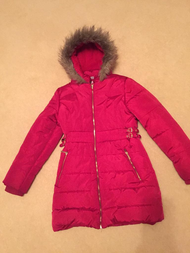 Girls red padded winter coat