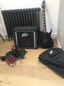 Guitar amp 65w Peavey Express 112 with an electric Guitar Ibanez and leads