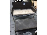 BRAND NEW ratten bench set with cushions