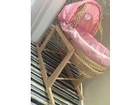 Pink Moses basket & mattress