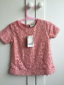 Pink lace top 3-6 months