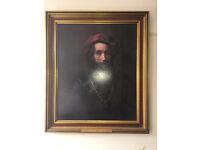 "Engaging Framed Rembrandt ""Portrait of a Rabbi"" Art Print"
