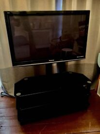 """Panasonic 42"""" plasma tv with satellite & freeview tuners plus glass stand with integrated cable tidy"""