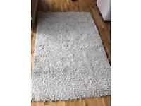 Cream / ivory shaggy thick pile rug with silk