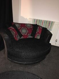 THREE SWIVEL CHAIRS AND FOOTSTOOL