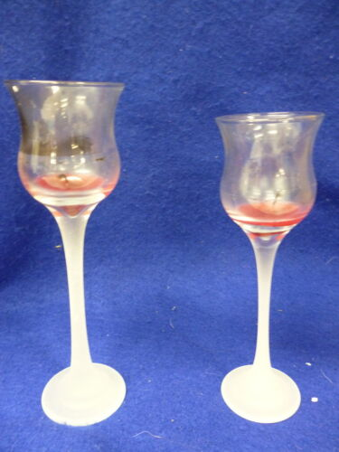 EUC SET OF PARTYLITE GLASS VOTIVE HOLDER CLEAR & FROSTED 2 PIECE SET P9248 W BOX