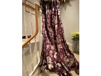 Purple velvet curtains from John Lewis with pinch pleat and sliver tie backs - amazing condition