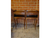 Pair genuine vintage French bedside tables cabinets