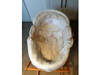 "Lovely Mamas & Papas ""Once Upon a Time"" Moses basket with wooden stand & 2 mattresses"