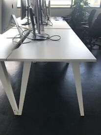 4 White Office Tables