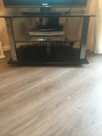 Black glass and crome tv unit