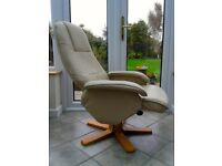 Cream Leather Swivel Recliner Chair - Rarely Used