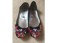 Ladies M&S Beaded Ballet Pumps UK5