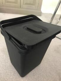 Black plastic bin with lid. Good condition