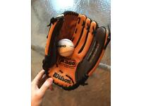 Wilson Baseball / Softball Glove + Ball