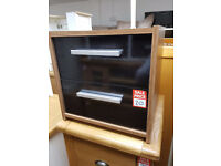 New Sywell 2 Drw Bedside Chest - Walnut & Black Gloss