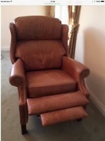 Brown aniline leather reclining armchair / chair - Chesterfield style in great condition