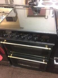 Black & green 60cm Parkinson Cowan gas cooker grill & double ovens good condition with guarantee