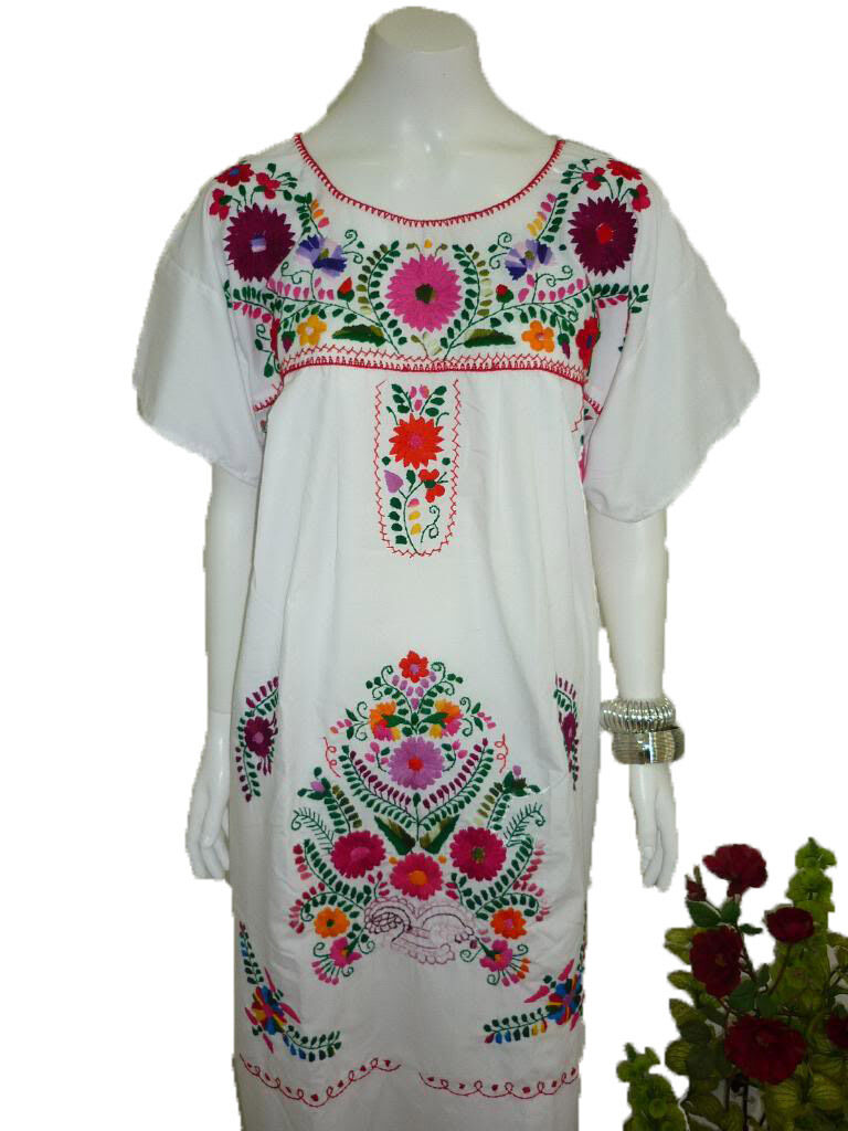 Any Color Peasant Vintage Tunic Embroidered Mexican Dress  X