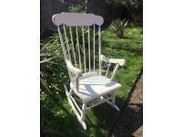 White Rocking Chair with lots of character. Ideal Shabby-Chic project?