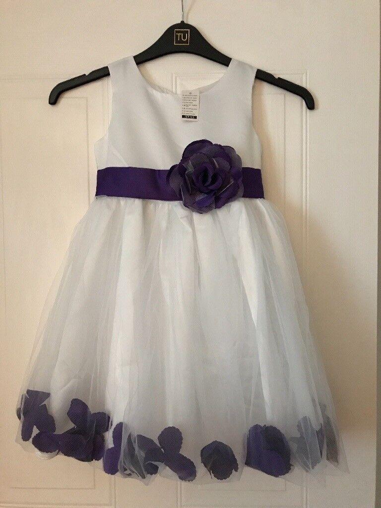 4a4497400c7 Beautiful white and Cadbury purple bridesmaid   flower girl dresses ...
