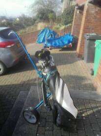 Golf clubs, head covers and trolley (plus extras)