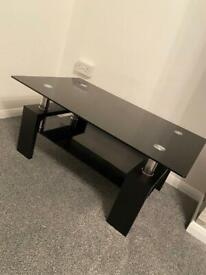 Black Rectangle Tempered Glass Coffee Table