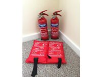 Two sets of fire extinguishers and blankets