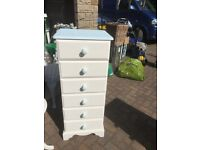 Tall boy cheat 6 drawers painted off white with duck egg handles & top shabby chic stunning