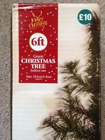 6ft Christmas Tree with Assorted Decorations and Cards