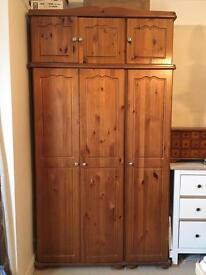 Solid Pine triple wardrobe and top box