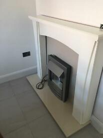 New marble and wood electric fire place. BARGAIN!!