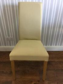 Four Cream Real Leather Dining Chairs