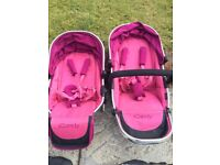 icandy peach 3 blossom twin/double pram/buggy