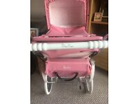 Beautiful silver cross twin dolls pram