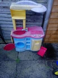 Free breakfast table and kitchen toy and moses basket