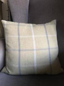 Pale Yellow and Grey Tartan Cushion Dunhelm