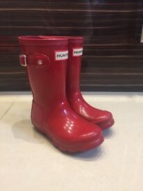 Girls Red Hunter Wellies size 9